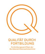 Logo: Fortbildungszertifikat  der Bundesrechtsanwaltskammer. Das Qualitätssiegel der BRAK